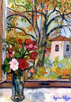 Bouquet of Flowers in front of a Window in Saint-Bernard / Suzanne Valadon - 1926