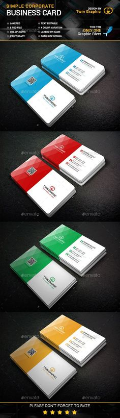 Simple Corporate business Card Design - Business Card Template PSD. Download here: http://graphicriver.net/item/simple-corporate-business-card-design/12555350?s_rank=1763&ref=yinkira
