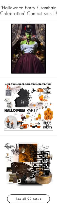 """""""""""Halloween Party / Samhain Celebration"""" Contest sets...!!!"""" by catyravenwood ❤ liked on Polyvore featuring art, interior, interiors, interior design, home, home decor, interior decorating, Crate and Barrel, Dylan's Candy Bar and Primitives By Kathy"""