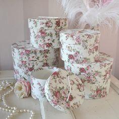 ٠•●●♥♥❤ஜ۩۞۩ஜஜ۩۞۩ஜ❤♥♥●   Shabby Cottage Chic Set of 5 Rose Nesting Boxes  ٠•●●♥♥❤ஜ۩۞۩ஜஜ۩۞۩ஜ❤♥♥●