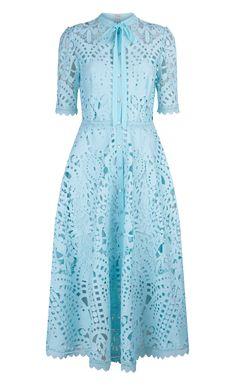 Temperley Berry Lace Neck Tie Dress