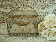Incredible Huge Antique French Wedding Casket Box Jewel Box With Beveled Glass & Roses Garlands Swags. $1,299.99, via Etsy.