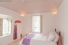 pale pink bedroom, romantic, modern traditional, villa, mesaria, santorini, greece