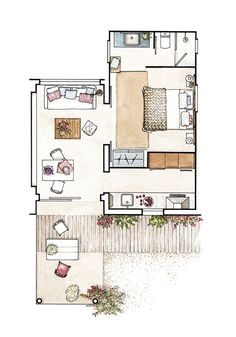 Apartament de 37 m² decorat pentru o vacanță de vis la mare Jurnal de design interior Interior Architecture Drawing, Interior Design Renderings, Architecture Concept Drawings, Drawing Interior, Interior Sketch, Design Interior, Interior Painting, Floor Plan Sketch, Floor Plan Drawing