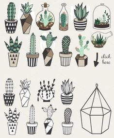 Gorgeous succulents, cactus planner doodles and bullet journal drawings - Doodle and Draw - Cactus Cactus Drawing, Plant Drawing, Painting & Drawing, Succulents Drawing, Planner Doodles, Bujo Doodles, Bullet Journal Inspiration, Doodle Art, Doodle Frames