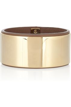 Gold-tone and leather bangle by Chloé