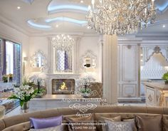 Камин в гостиной. Фото 2020 - Дизайн дома Dining Room Design, Modern House Design, Luxury Living, Color Schemes, Art Deco, Chandelier, Ceiling Lights, Living Room, Interior Design