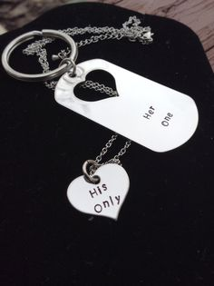 Her One His Only Necklace and Keychain set by myheartsaKEs on Etsy, $19.00