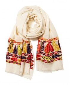 Ivory Paisley Flower Cashmere Scarf