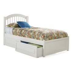 Buy Atlantic Furniture Windsor Bed w/ Flat Panel Footboard in White on sale…