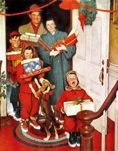 """East Urban Home """"Merry Christmas, Grandma"""" by Norman Rockwell Graphic Art on Wrapped Canvas Peintures Norman Rockwell, Norman Rockwell Art, Norman Rockwell Paintings, Norman Rockwell Self Portrait, Merry Christmas Sign, Christmas Ad, Vintage Christmas, Christmas Images, Norman Rockwell Christmas"""