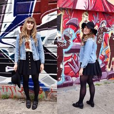 Thrifted Sailor Skirt, Vintage Denim Jacket, Target Black Sheer Tights, The Beat Clothing Black Mod Shoes, San Diego Hat Company Black Felt Hat, Anthropologie White Blouse