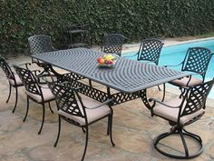 Cast Aluminum Outdoor Patio Furniture 9 Piece Extension Dining Table Set with 2 Swivel Rockers *** Check this awesome product by going to the link at the image. (This is an affiliate link) Wrought Iron Garden Furniture, Cast Aluminum Patio Furniture, Cheap Patio Furniture, Best Outdoor Furniture, Modern Furniture, Furniture Outlet, Industrial Furniture, Discount Furniture, Furniture Ideas