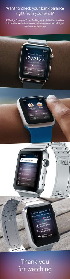Future banking design concept for Apple Watch