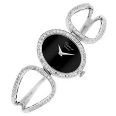 White Gold, Black Onyx and Diamond Bangle-Watch, Chopard  Important Estate Jewelry   Doyle Auction House