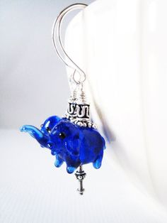 Cobalt blue lampwork elephant earrings in by LittleBearsMom, $32.00