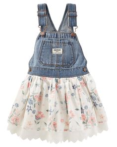 What do you get when you mix functional overalls with a sweet dress? This super on-trend jumper! With adjustable straps for a snug fit and a pretty floral-printed skirt, this piece is a must-have for her wardrobe.
