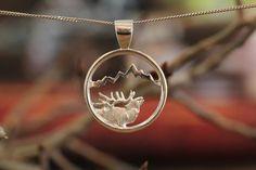 Large Silver Elk Signature Teton Cutout Pendant – Jackson Hole Jewelry Company