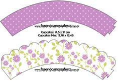 Saias Wrappers para Cupcakes Floral Lilás: