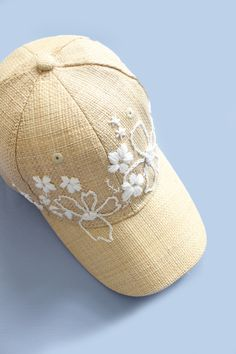 Create a stylish and sustainable home with unique crafts, DIY projects and upcycled decor! Shop handmade ome goods, vintage and upcycled accessories. Hat Embroidery, Embroidery On Clothes, Hand Embroidery Stitches, Hand Embroidery Designs, Cross Stitch Embroidery, Bone Bordado, Embroidered Baseball Caps, Cute Hats, Creations