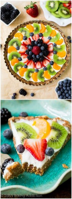 Greek Yogurt Fruit Tart: Healthy breakfast fruit tart made with a gluten free two ingredient crust, protein packed Greek yogurt, and plenty of fresh fruit.
