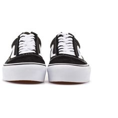 Vans (6,155 PHP) ❤ liked on Polyvore featuring shoes, platform shoes, black shoes, laced shoes, black rubber sole shoes and vans footwear