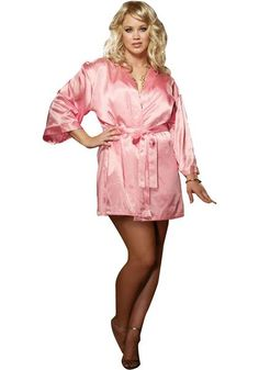 910bd9f61e8a Pink Simple Silk Robe Plus Size Lingerie