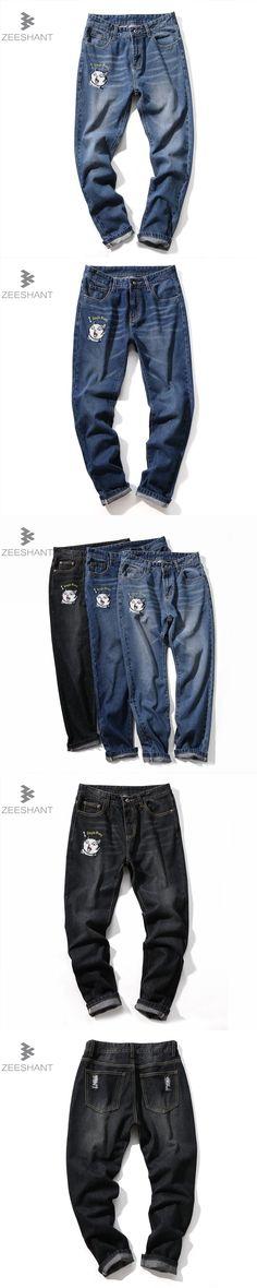 Zeeshant Men Jeans Ripped Biker Hole Denim Patch Harem Jeans For Men Pants in Men's Jeans Plus 40 42