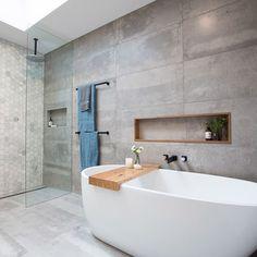 Beautiful Basement Bathroom without Breaking Concrete
