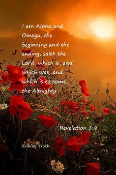 "Revelation 1:8 ' I AM THE ALPHA & OMEGA "", AMEN"
