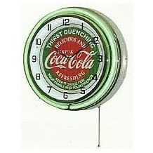 """COCA COLA 18"""" DOUBLE NEON LIGHT CHROME CLOCK BOTTLE SIGN DISTRESSED VINTAGE STYLE GREEN/RED"""