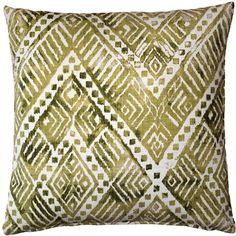 The Tangga Green 20 inch square throw pillow has a wonderful, natural faded look and combines a range of mossy and earthy green colors. Green Throw Pillows, Throw Pillow Sets, Outdoor Throw Pillows, Toss Pillows, Accent Pillows, How To Clean Pillows, Pillow Arrangement, American Decor, Decorative Accessories