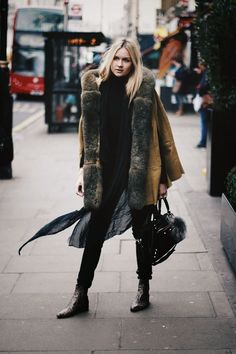 Nina Suess, olive coat with fur. Latest fashion trends.