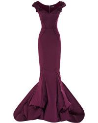 Zac Posen Stretch Duchess Offtheshoulder Gown in Purple (Amethyst) | Lyst