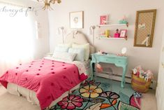 "gorgeous ""big girl"" room with a punchy pink bedspread and bold floral rug. major pieces can grow with the young lady, while accents can be changed on her whims."