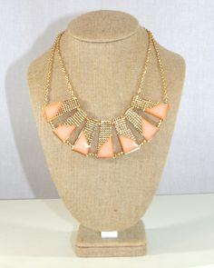 Coral Geometric Bib Necklace | Violet Clover