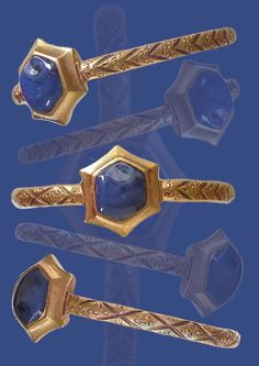 A gold ring with a hexagonal bezel set with a sapphire, Europe, 12th-13th century.