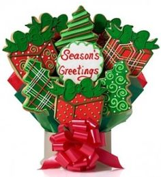 Holiday Poinsettias Cookie Gift Bouquet Delete | Poinsettia ...