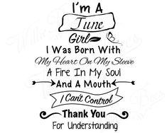 I'm A June Girl Birthday SVG Gemini Cancer Heart On My