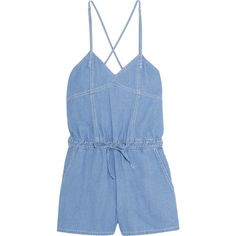 SJYP Steve J & Yoni P Denim playsuit ($150) ❤ liked on Polyvore featuring jumpsuits, rompers, romper, jumpsuit, dresses, playsuit, light denim, loose romper, loose jumpsuit and blue romper