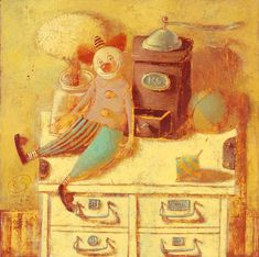 "print on canvas ""Still Life With A Clown And A Coffee Grinder"" with wooden frame artist Svetlana Rumak Morning Coffe, Painting Still Life, Postmodernism, Michelangelo, Naive, Love Is All, Vintage Art, Art For Kids, Contemporary Art"