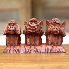 Novica Three Wise Monkeys Hear Speak See No Evil Artisan Decorator Accent Traditonal Signed Art Work Sculpture