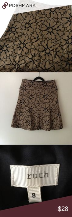 RUTH skirt Gorgeous bell shaped skirt by Ruth! High quality- beautiful detail- great neutral color palate! Hits at knee- zipper on side- it has a heavy structure so it holds shape and is very flattering- retails at Bloomingdales for around $220!!! Bloomingdale's Skirts