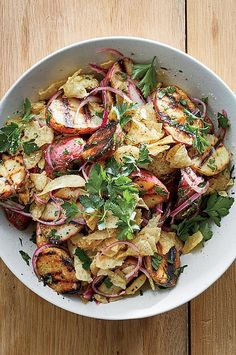 This modern take on potato salad forgoes mayo for a base of vinegar and olive oil. Justin Chapple also grills the potatoes to add a great smoky flavor before tossing them with quickly pickled red onions. #sidedish #sidedishrecipes #mushrooms #mushroomrecipes #wildmushrooms #morelmushrooms #morelrecipes #wildmorels Best Side Dishes, Side Dish Recipes, Veggie Recipes, Wine Recipes, Salad Recipes, Healthy Recipes, Baby Potato Salad, Salad Dishes, Baby Potatoes
