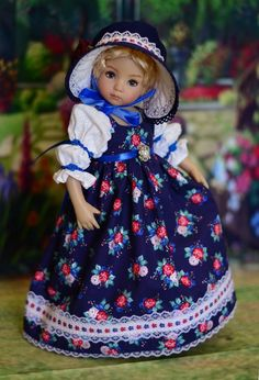 """SOLD - """"Evening Roses"""" Regency Dress, Outfit  for 13"""" Dianna Effner Little Darling #LuminariaDesigns"""