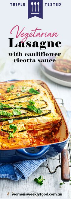 Vegetarians will love this vegetable lasagne recipe with a cream sauce made from cauliflower and ricotta. Vegetarian Lasagne, Vegetable Lasagne, Easy Vegetarian Lunch, Vegetarian Recipes, Cooking Recipes, Lasagne Recipes, Ravioli, Lunches And Dinners, Gnocchi