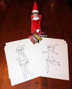 brought the kids coloring sheets and crayons just google elf on the shelf coloring pages