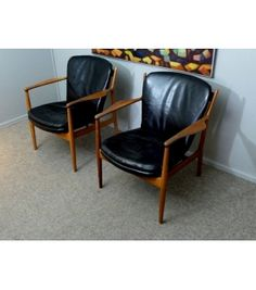 "Pair of Finn Juhl chairs Produced by Baker Furniture Co.1950's.  Finn Juhl was one of the most recognized Danish furniture designers; he was most famous for his design icon the ""Cheiftan Chair.""  Juhl attended the Royal Academy in Copenhagen and studied architecture, in the late 1930's he started designing furniture which is plain to see became his life's passion.  http://www.modlivin.com/vintage-furniture-mid-century/vintage/Finn-Juhl-Arm-Chair-pair"