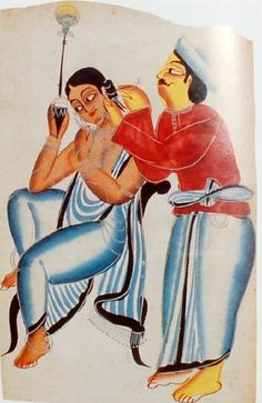 Kalighat style painting depicting a woman smoking a pipe while a barber cleans her ear, late 19th century
