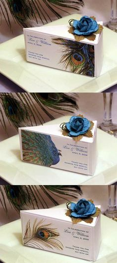 I don't like peacocks but I like the idea. I'll substitute the peacock image for something. West Indian black cake Wedding Favor Cake Boxes Favors